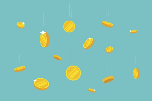 Coins money falling vector illustration, flat style dropping gold coins, isolated on color background